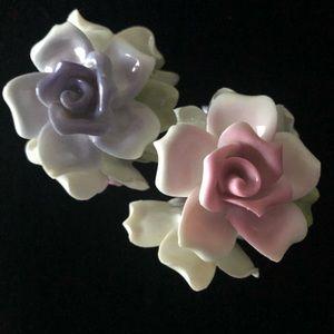Vintage Porcelain Flower Candle Holders